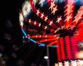 Fine Art Photography, Carnival Art, Carnival Swings, Home Wall Decor, Stars, Red White and Blue, Nursery Room Decor, Childrens Art, Print