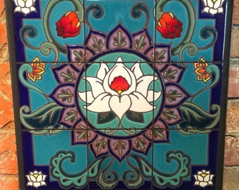 18x18 Lotus Mandala Hand Glazed Decorative Tile Mural