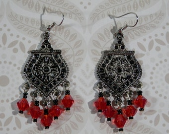 """2 1/2"""" Long Chandelier Earring Antiqued Silver Tone Pendant Red Faceted Bicone Black Seed Bead Bollywood Burlesque Bohemian Indie Style Gift"""