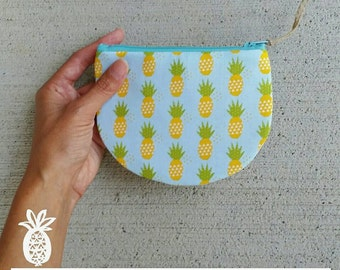 Zippered Coin Purse {Aqua Pineapples} Be Organized