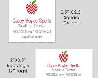 Apple Teacher Square OR Rectangle Enclosure Cards