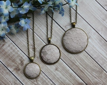 Champagne Bridesmaid Jewelry, Unique Bridesmaid Gift, Beige Bridal Lace Necklace, Boho Champagne Wedding - Small, Medium, Or Large Pendant