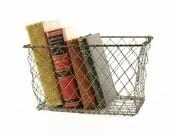Vintage Wire Basket, Locker Basket, Industrial Storage