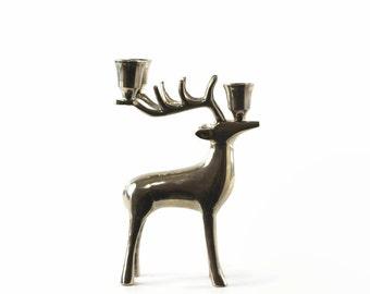 Vintage Deer Candle Holder, Silver Stag, Reindeer, Chrome Deer Candleholder, Christmas Decor