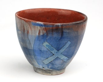 "Blue Cup with Blue ""X"""