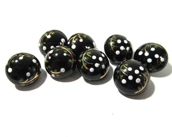 Hand Painted Black Glass Buttons West Germany VINTAGE Buttons Eight (8) Hand Painted Floral Vintage Buttons Jewelry Sewing Supplies (G190)