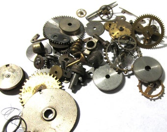 Watch Parts VINTAGE Watch Parts STEAMPUNK 10 Grams of Mechanical Movements Gears Plates Watch Gears Jewels Watch Jewelry Art Supplies (M94)