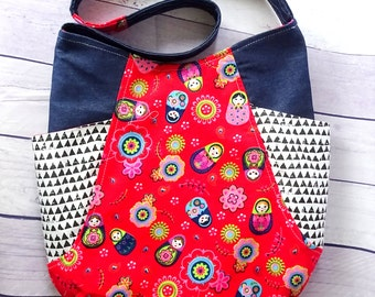 Owl slouchy  bag, denim shoulder bag, tote bag with pockets, gift for her, Red Denim Tote Bag, hobo shoulder bag, hobo tote bag