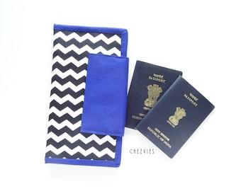 Chevron Travel Wallet Family Passport Holder, black and white family passport cover, travel document organizer