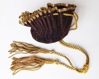 french velvet pouch gold and brown pouch