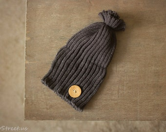 Baby Button Hat, Baby Hat, Baby Boy Hat, Beanie, Newborn Hat, Gray Hat, Natural, Baby Photo Prop, Newborn Props, Baby Props, RTS