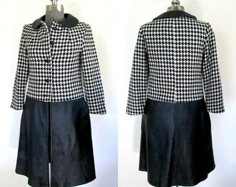 1960s Mod Herringbone Leather Coat // Black & White Young Modes Claudia Young