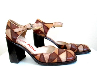 Designer Miu Miu Shoes Chunky Heel Shoe Size 6.5 Brown Patch Leather Mary Janes