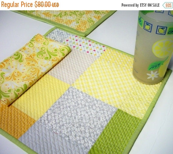CIJ SALE Cheerful Sunkissed Placemats Napkins Quilted Orange Yellow Green Gray Set of 2 Reversible Quiltsy Handmade FREE U.S. Shipping