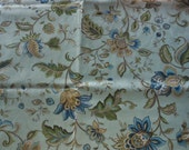Handmade cotton print tablecloth green blue floral patterned pale teal background 53 inches square