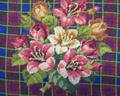 vintage needlepoint finished, pretty flowers on a plaid background, 13 1/2  inches square