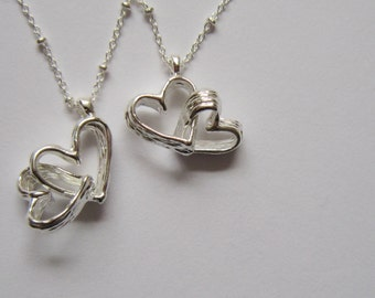 Intertwined Heart Necklace - Love - Unique Gift - Valentines - Fingerprint - hand made