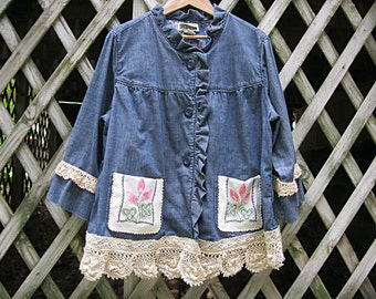 Plus size altered denim jacket, upcycled boho denim jacket, 1X romantic denim jacket, embellished with vintage lace and linens