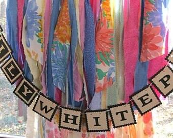 Colorful Rag Garland, 3 ft Floral Garland, Rustic Wedding Decor, Baby Shower Garland, Birthday Party Garland, Bright or Pastel