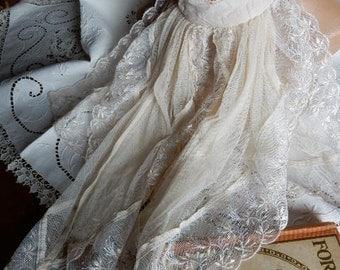 Cream Lace Jabot Vintage, Shabby, Downton Abbey