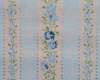 Vintage Wallpaper - Blue Roses Silver highlights Stripes 1940's - 1 Yard