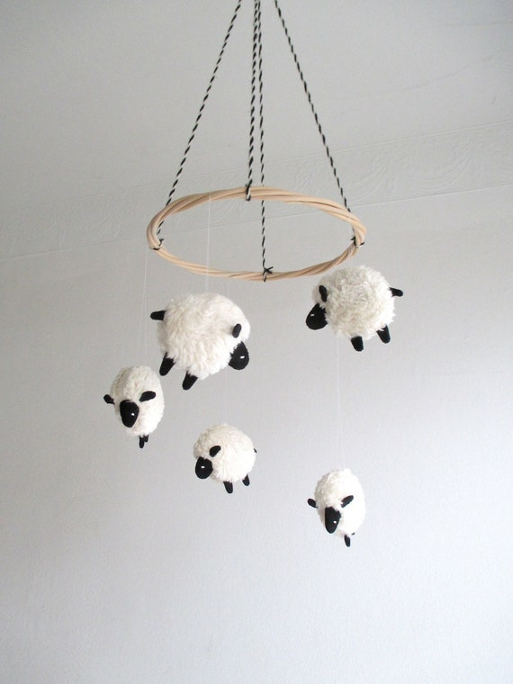 Baby mobile sheep lamb baby mobile nursery decor lambs baby mobile sheep lamb baby mobile nursery decor lambs black and white baby mobile shower gift lamb nursery gender neutral organic negle Image collections