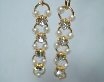 1980s Tiny Seed Pearl and Rhinestone Pierced Earrings.