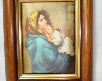 1978 Madonnia or Madonna on The street  on Silk Framed Art.