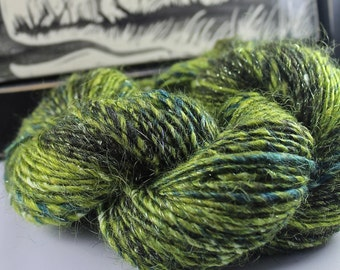 Handspun Yarn Gently Thick and Thin Single Merino Mohair Cotton and Glitz 'Merlin Tree'