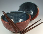 Noodle Bowl Set- Rice Bowls - Chopstick Bowls, Handmade Rice Bowl Set in our Tri-Color Glaze - In Stock & Ready to Ship