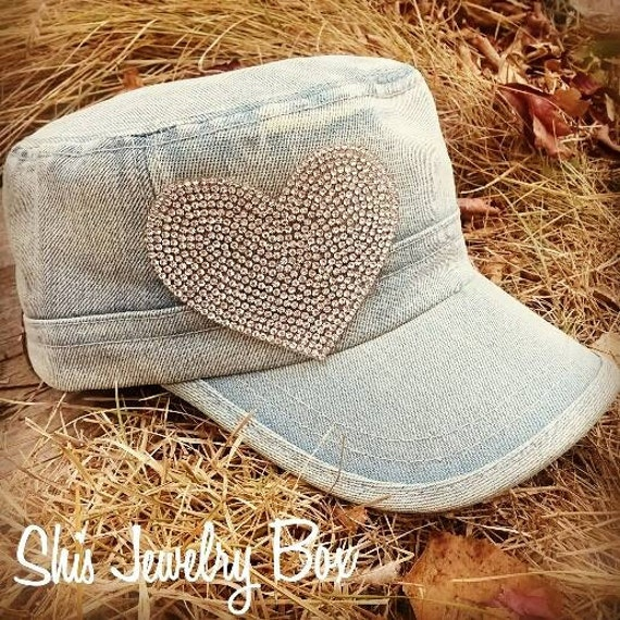 Denim heart army hat, heart hat, heart cap, denim cap, heart bling, bling hat, teacher gifts, bling gifts, fashion hat
