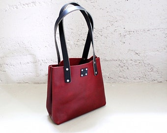 Oxblood Leather Bag, Womens Leather Purse, Leather Tote, Leather Handbag, Everyday Purse, Minimalist Bag, Red Leather Black
