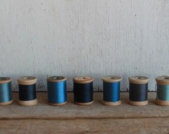 Vintage Thread Spools // Blues