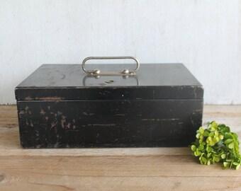Vintage Black Metal Cash Box // Industrial Metal Box // Storage