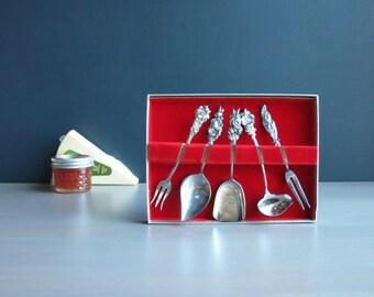 Vintage Reed & Barton condiment set | Silver plate Harlequin high tea service