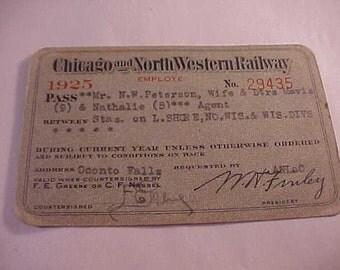 1925 Chicago & Northwestern Railway Employee Pass
