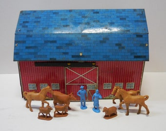 Vintage Toy barn farmers & animals Tin litho Ohio Art Play farm rustic