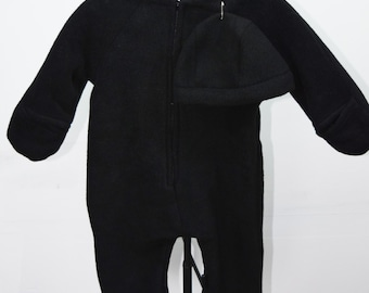 Baby Bunting with hat in solid black fleece outerwear