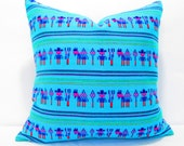 Turquoise Pillow, Tribal Pillows Covers, Colorful Pillow Covers, Bohemian Decor, Boho Bedding, Mexican Cushion, Square, tribal pillowcase