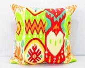 Tribal Pillow Covers, Bohemian Chic Pillows, Ikat Lumbar Throw Pillow, Red, Blue, Green, Orange, and White, lumbar chair pillow, bed pillow