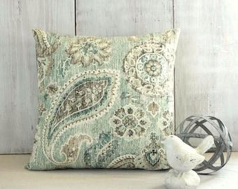 Teal Blue Paisley Pillow Cover, Teal Blue Pillow, Blue Green Throw Pillow