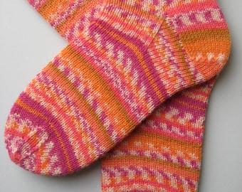 hand knitted womens wool socks, UK 6-8 US 8-10