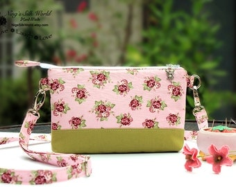 Sale 30% off! Twin Wallet Ditsy Rose Pink Green Smartphone Wallet iPhone 6 Plus Samsung Galaxy S6 8 Card Slots coin Pocket Zipper Closure