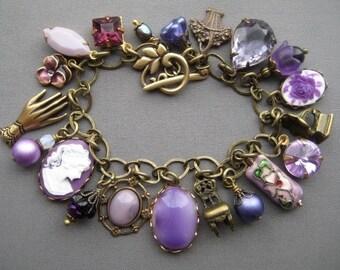 Charm Bracelet - Purple Bracelet - Victorian Jewelry - Rhinestone Bracelet - Victorian Bracelet - Purple Jewelry - Romantic Jewelry