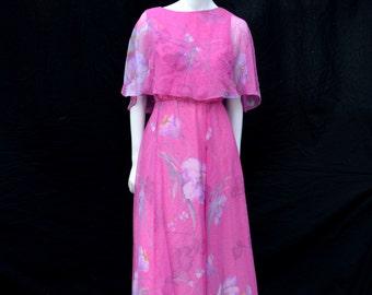 Vintage Miss Elliette floral MAXI dress 70's polyester boho maxi romantic dress  size M by thekaliman