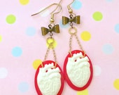 Red and White Mini Anatomical Heart Earrings