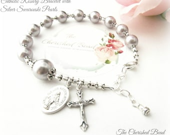 Catholic Rosary Bracelet with Beautiful Silver Swarovski Pearls