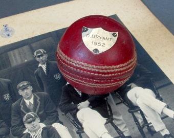 Antique Cricket Ball Trophy - English 1952 Presentation Cricket Ball - Silver Crest Cricket Ball - Cricket Memorabilia