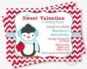 Valentine Birthday Invitation, Penguin Invitation, Valentines Day Birthday, Boy Birthday Invitation, February Party Invite