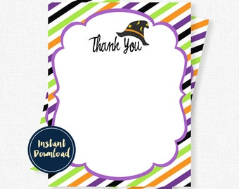 Halloween Thank You Cards, Witch Thank You, Birthday Thank You Notes, Witch Hat Thank You Cards, Printable INSTANT DOWNLOAD